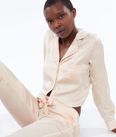 Короткая пижамная рубашка на завязках пудрово-розовый.