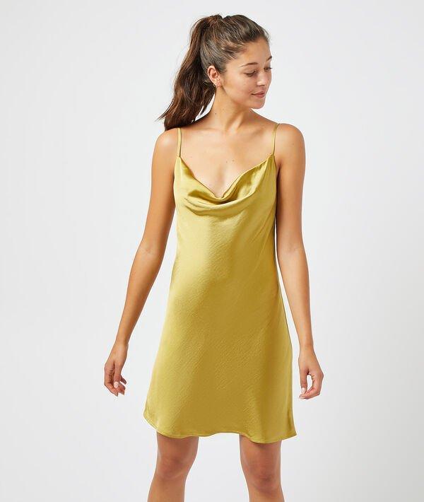 Атласное платье-сорочка на тонких бретельках