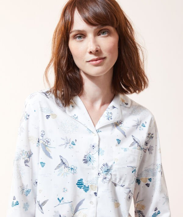 Пижамная рубашка с принтом птиц